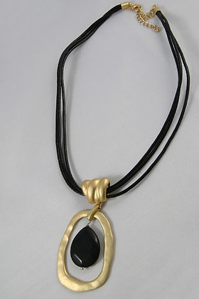 """Kara""Natural Stone & Metal Art Pendant Necklace"