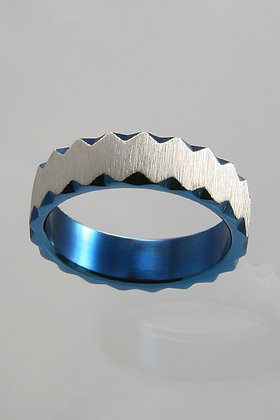 """Daniely""Titanium Silver & Blue Band Ring"