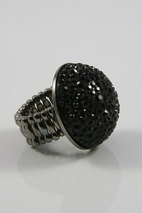 """""""Night Glory""""Large Black Crystal Dome Stretch Ring"""