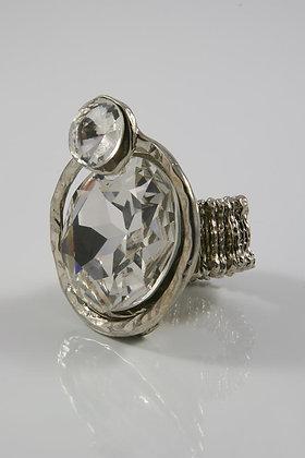 """Delia""Silver Tone Clear Crystal Stretch Ring"