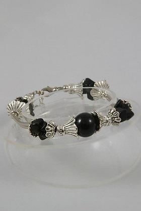 """Nessa"" Tibetan Silver & Onyx Beads/Stone Chip Bracelet"