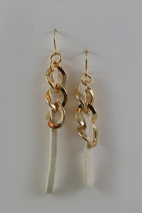 """""""Sofia"""" Gold-Tone Metal Chain & Suede Cord Link Earrings"""