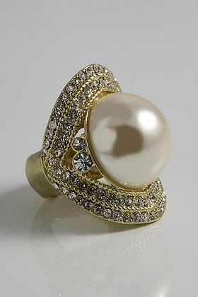 """""""Floyna"""" Large White Pearl and Clear Crystal Ring"""