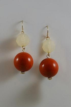 """""""Jodie"""" Natural Stone Bead Two-Tier Hook Earrings."""