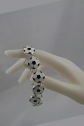"""Juna"" Metal Epoxy Soccer Charm  Bracelet"