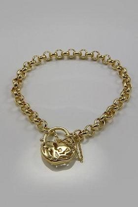 """""""Kathleen"""" Heart Lock 18K YGP Chain Charm Bracelet"""
