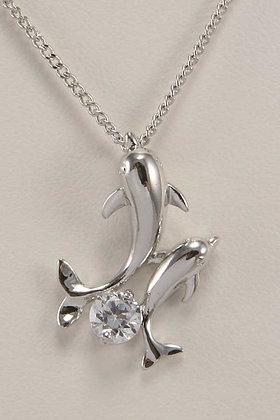 """Dolphin"" Rhodium Plated Zircon Pendant"