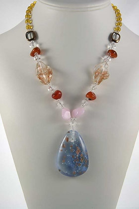 """Geovanna"" Red Agate And Rose Quartz Bead Mecklace"