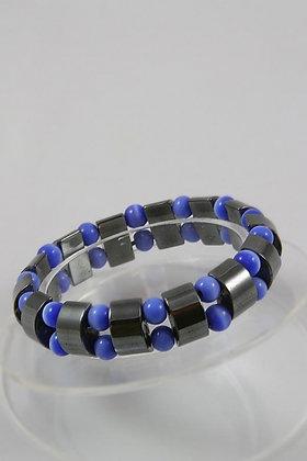 """""""Kiyoko"""" Hematite & Blue Cat Eye Stretch Bracelet"""