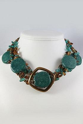 """Kaya"" Figurine Disk & Seed Bead Necklace"