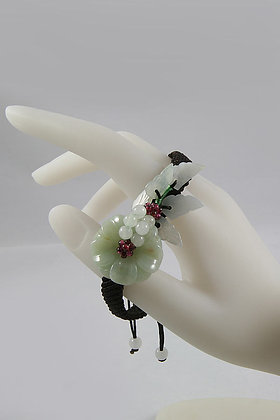 """Olga"" Natural Green Jade Flower Adjustable Bracelet"