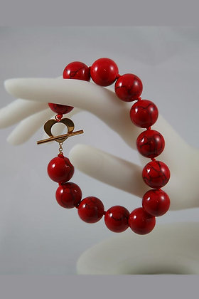 "DORA ""Red Blood"" Agate Bead Bracelet"