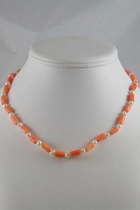"""Irinia"" White Pearl & Coral Necklace"