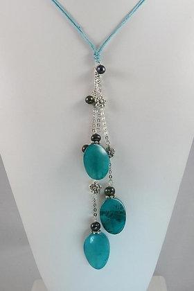 """Gabrielle"" Black Pearl & Blue Jasper Necklace"