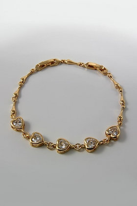 """Marcey"" AAA Zircon Heart Link Bracelet"