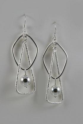 """Brittany"" Sterling Silver Ball Art Design Earring"