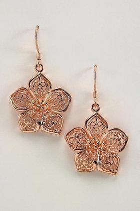 """""""Goldy"""" Filigree Flower 18K Pink Gold Embraced™ Drop Earrings.\"""