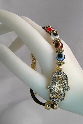 """Hamsa"" Multi Color Crystal Evil Eye Link Bracelet"