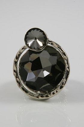 """Delia""Dark Gray Crystal Stretch Ring"