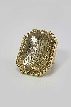 DALLY Mesh Brown Glass Stone Stretch Ring