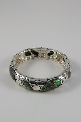 """Marsha"" Abalone Textured Metal Bracelet"