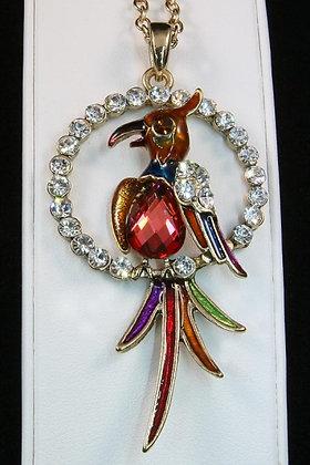 """Hiltania"" Silver Tone Deco Crystal Bird Pendant"