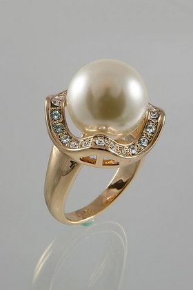 GARION18K Rose Gold Plated Pearl & Diamond Ring