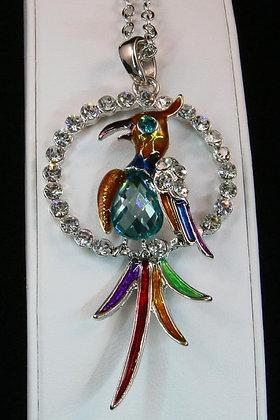 """Hilta"" Deco Gold Tone Crystal Bird Pendant"