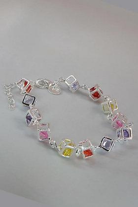 """""""Kristen"""" .925 Sterling Silver & Crystal Box Link Bracelet"""