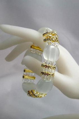 """""""Josette"""" White Cat's Eye & Facet Crystal Bracelet"""