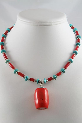 """""""Roxanne""""Turquoise & Red Coral Necklace"""