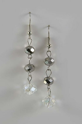 """Nayati"" Facet Glass Silver Tone Earrings"