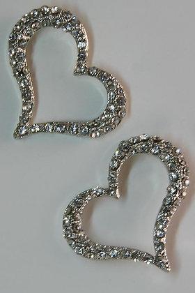 """Belliya"" Clear Crystal Stud Heart Earrings"