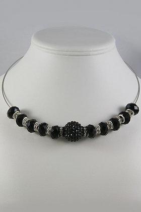 """Evonita"" Black Crystal Fireball Necklace"
