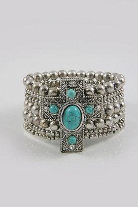 """Megan"" Turquoise Cross Stretch Bracelet"