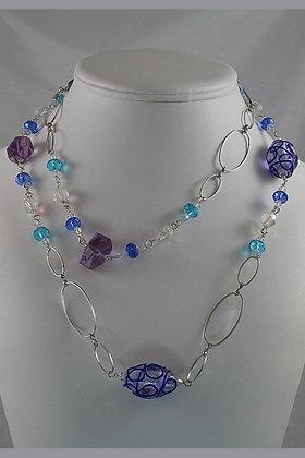 """""""Aviva""""Amethyst Color Glaze 39""""L Necklace"""