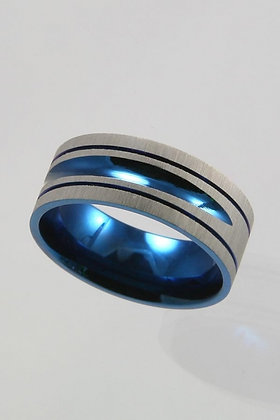 """Brunic""Blue & Silver Titanium Ring"
