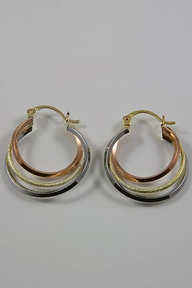 """Deedee"" 18K Gold Three Tone Hoop Earrings"