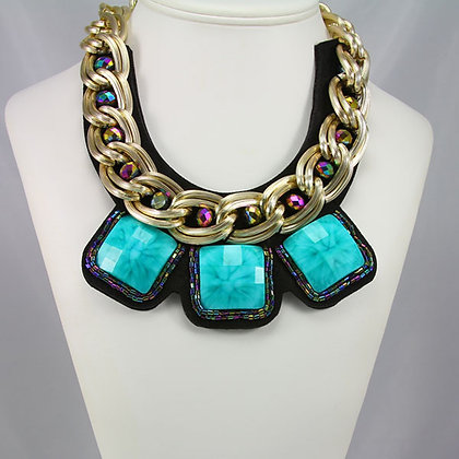 BECKY Vintage Large Stone Gold tone Collar
