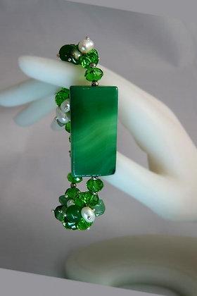 """""""Nancy"""" Green Agate Pearl & Crystal Bracelet"""