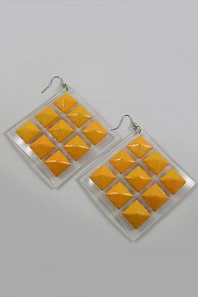 """Tahisha"" Yellow"" Metal Stud Clear Acrylic Earrings"