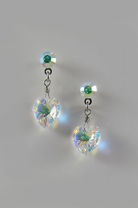 """Alicie"" Swarovski Crystal Dangling Heart Stud Earring"
