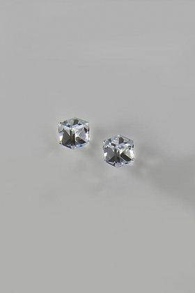 """Aurora Borealis"" Swarovski Crystal Cube Shaped Earrings"