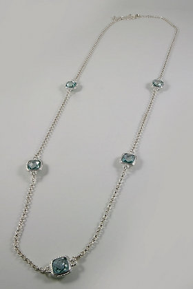 """Julie"" Aquamarine Crystal Necklace"