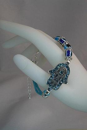 """""""Hamsa"""" Blue Crystal Evil Eye Link Bracelet"""