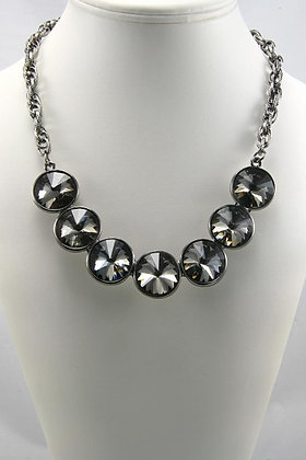 """Paloma""Brown Facet Glass Link Necklace"