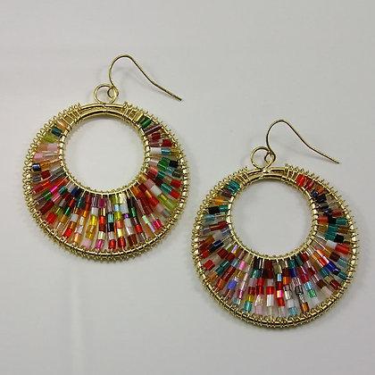 """Doryne"" Colorful Beads Circle Dangle Earring"