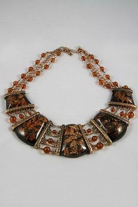 """Jasminia"" Amber Glass & Burnish Metal Necklace"