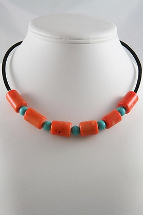 """""""Faye"""" Orang Coral & Turquoise Necklace"""