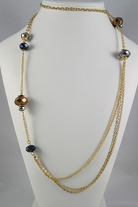 """Eileen""Mirror Facet Balls 38""L Chain Necklace"